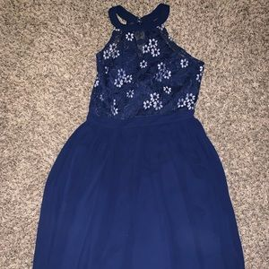 Super cute floral mesh top skater dress